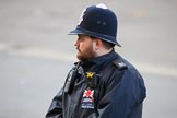 Metropolitan Police Constable Mark Tucker keeping an eye on the spectators before the Remembrance Sunday Cenotaph Ceremony 2018 at Horse Guards Parade, Westminster, London, 11 November 2018, 09:04.