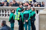 St John Ambulance staff gather on Whitehall before the Remembrance Sunday Cenotaph Ceremony 2018 at Horse Guards Parade, Westminster, London, 11 November 2018, 09:26.