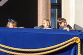 Children on one of the balconies of the Foreign and Commonwealth Office before the Remembrance Sunday Cenotaph Ceremony 2018 at Horse Guards Parade, Westminster, London, 11 November 2018, 10:03.