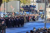 Getting ready for the March Past - the first group of RBL officials (I believe) followed by the first group of veterans on Whitehall before the Remembrance Sunday Cenotaph Ceremony 2018 at Horse Guards Parade, Westminster, London, 11 November 2018, 10:07.