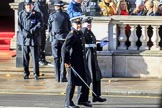 Two Royal Navy officers arriving on Whitehall ahead of their service detachment, before the Remembrance Sunday Cenotaph Ceremony 2018 at Horse Guards Parade, Westminster, London, 11 November 2018, 10:07.