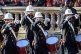 The Band of the Royal Marines arrives on Whitehall before the Remembrance Sunday Cenotaph Ceremony 2018 at Horse Guards Parade, Westminster, London, 11 November 2018, 10:17.