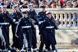 The Service detachment from the Royal Navy arrives on Whitehall before the Remembrance Sunday Cenotaph Ceremony 2018 at Horse Guards Parade, Westminster, London, 11 November 2018, 10:18.