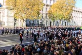 The Band of the Royal Marines has reached their initial position on Whitehall before the Remembrance Sunday Cenotaph Ceremony 2018 at Horse Guards Parade, Westminster, London, 11 November 2018, 10:20.