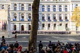 The Service detachment from the Royal Navy is in position on the Foreign and Commonwealth Office side of Whitehall before the Remembrance Sunday Cenotaph Ceremony 2018 at Horse Guards Parade, Westminster, London, 11 November 2018, 10:20.