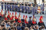 The Service detachment from the Household Cavalry arrives on Whitehall before the Remembrance Sunday Cenotaph Ceremony 2018 at Horse Guards Parade, Westminster, London, 11 November 2018, 10:25.