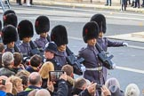 The Service detachment from the Army arrived on Whitehall before the Remembrance Sunday Cenotaph Ceremony 2018 at Horse Guards Parade, Westminster, London, 11 November 2018, 10:26.