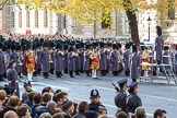 Three of the Massed Band are in position on Whitehall before the Remembrance Sunday Cenotaph Ceremony 2018 at Horse Guards Parade, Westminster, London, 11 November 2018, 10:28.