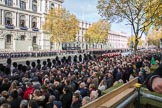 Whitehall 32 minutes before the start of the Remembrance Sunday Cenotaph Ceremony 2018 at Horse Guards Parade, Westminster, London, 11 November 2018, 10:28.