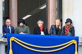 Early guests on one of the eastern balconies of the Foreign and Commonwealth Office before the Remembrance Sunday Cenotaph Ceremony 2018 at Horse Guards Parade, Westminster, London, 11 November 2018, 10:34.