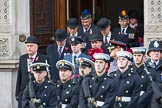 Representatives of The Royal British Legion, London Transport, the Royal Air Forces Association , the Royal Naval Association , the Royal Commonwealth Ex­Services League, the Royal British Legion Scotland, and the Royal British Legion Women's Section leaving the Foreign and Commonwealth Office before the Remembrance Sunday Cenotaph Ceremony 2018 at Horse Guards Parade, Westminster, London, 11 November 2018, 10:35.