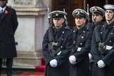 Members of the Service detachment from the Royal Navy at the Foreign and Commonwealth Office entrance before the  Remembrance Sunday Cenotaph Ceremony 2018 at Horse Guards Parade, Westminster, London, 11 November 2018, 10:38.