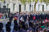 The representatives of The Royal British Legion, London Transport, the Royal Air Forces Association, the Royal Naval Association, the Royal Commonwealth Ex­Services League, the Royal British Legion Scotland, and the Royal British Legion Women's Section are in position on Whitehall before the Remembrance Sunday Cenotaph Ceremony 2018 at Horse Guards Parade, Westminster, London, 11 November 2018, 10:40.