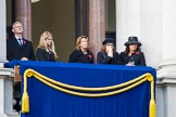 Guests on one of the eastern balconies of the Foreign and Commonwealth Office before the Remembrance Sunday Cenotaph Ceremony 2018 at Horse Guards Parade, Westminster, London, 11 November 2018, 10:43.