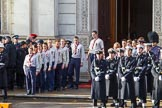 The The Queen's Scouts are leaving the Foreign and Commonwealth Office at the start of the Remembrance Sunday Cenotaph Ceremony 2018 at Horse Guards Parade, Westminster, London, 11 November 2018, 10:45.