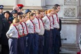 The The Queen's Scouts are lining the Foreign and Commonwealth Office entrance at the start of the Remembrance Sunday Cenotaph Ceremony 2018 at Horse Guards Parade, Westminster, London, 11 November 2018, 10:45.