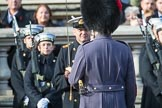 Garrison Sergeant Major (GSM) Headquarters London District, Warrant Officer Class 1 Andrew (Vern) Stokes with a Lieutenant Commander from the Service detachment from the Royal Navy before the Remembrance Sunday Cenotaph Ceremony 2018 at Horse Guards Parade, Westminster, London, 11 November 2018, 10:47.