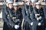 Members of the Service detachment from the Royal Navy before the Remembrance Sunday Cenotaph Ceremony 2018 at Horse Guards Parade, Westminster, London, 11 November 2018, 10:48.