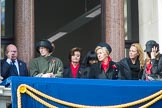Guests on one of the eastern balconies of the Foreign and Commonwealth Office, with Cherie Blair in the centre, before the Remembrance Sunday Cenotaph Ceremony 2018 at Horse Guards Parade, Westminster, London, 11 November 2018, 10:53.
