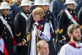 The Right Reverend and Right Honourable Dame Sarah Mullally DBE, the Lord Bishop of London, during Remembrance Sunday Cenotaph Ceremony 2018 at Horse Guards Parade, Westminster, London, 11 November 2018, 10:54.