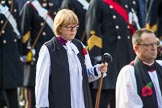 The Right Reverend and Right Honourable Dame Sarah Mullally DBE, the Lord Bishop of London during the Remembrance Sunday Cenotaph Ceremony 2018 at Horse Guards Parade, Westminster, London, 11 November 2018, 10:54.