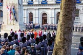 The Bishop's Procession in position on Whitehall during the Remembrance Sunday Cenotaph Ceremony 2018 at Horse Guards Parade, Westminster, London, 11 November 2018, 10:55.