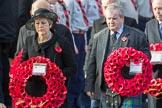 TheRtHonTheresaMayMP,PrimeMinister,onbehalfoftheGovernment, and Mr Ian Blackford MP (the Westminster Scottish National Party Leader on the behalf of the SNP/thePlaidCymruParliamentaryGroup) leaving the Foreign and Commonwealth Office with their wreaths during Remembrance Sunday Cenotaph Ceremony 2018 at Horse Guards Parade, Westminster, London, 11 November 2018, 10:55.