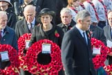 In focus TheRtHonVinceCableMP(LeaderoftheLiberalDemocrats) and The Rt Hon John Bercow MP, Speaker of the House of Commons (on behalf of Parliament representingmembersoftheHouseofCommons) as they are leaving the Foreign and Commonwealth Office with their wreaths during Remembrance Sunday Cenotaph Ceremony 2018 at Horse Guards Parade, Westminster, London, 11 November 2018, 10:55.