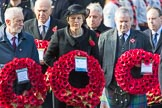 The Rt Hon Jeremy Corbyn MP, (Leader of the Labour Party and Leader of the Opposition), TheRtHonTheresaMayMP,PrimeMinister,onbehalfoftheGovernment, and Mr Ian Blackford MP (the Westminster Scottish National Party Leader on the behalf of the SNP/thePlaidCymruParliamentaryGroup) with their wreaths during Remembrance Sunday Cenotaph Ceremony 2018 at Horse Guards Parade, Westminster, London, 11 November 2018, 10:55.