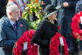 The Rt Hon Jeremy Corbyn MP, (Leader of the Labour Party and Leader of the Opposition)  and TheRtHonTheresaMayMP,PrimeMinister,onbehalfoftheGovernment with their wreaths during the Remembrance Sunday Cenotaph Ceremony 2018 at Horse Guards Parade, Westminster, London, 11 November 2018, 10:55.