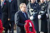 TheRtHonNigelDoddsOBEMP(WestminsterDemocraticUnionistPartyLeader) carrying his wreath during the Remembrance Sunday Cenotaph Ceremony 2018 at Horse Guards Parade, Westminster, London, 11 November 2018, 10:55.