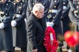 The Rt Hon John Bercow MP, Speaker of the House of Commons (on behalf of Parliament representingmembersoftheHouseofCommons) carrying his wreath during the Remembrance Sunday Cenotaph Ceremony 2018 at Horse Guards Parade, Westminster, London, 11 November 2018, 10:55.