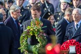 The Rt Hon Jeremy Hunt MP, Secretary of State for Foreign and Commonwealth Affairs, onbehalfoftheUnitedKingdomOverseasTerritories with his wreath during the Remembrance Sunday Cenotaph Ceremony 2018 at Horse Guards Parade, Westminster, London, 11 November 2018, 10:55. Behind him TheRtHonSajidJavidMP(SecretaryofStatefortheHomeDepartment), TheRtHonPhilipHammondMP,(ChancelloroftheExchequer), and TheRtHonGavinWilliamsonCBEMP(SecretaryofStateforDefence).