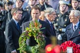 The Rt Hon Jeremy Hunt MP, Secretary of State for Foreign and Commonwealth Affairs, onbehalfoftheUnitedKingdomOverseasTerritories and The Rt Hon The Lord Fowler, Lord Speaker, (on behalf of Parliament representing membersoftheHouseofLords)  with their wreaths during the Remembrance Sunday Cenotaph Ceremony 2018 at Horse Guards Parade, Westminster, London, 11 November 2018, 10:55.