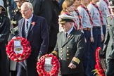 MrChristopherGarrod, AirTransportAuxiliaryAssociation  and CaptainDavidJohnstone, MerchantNavy leaving the Foreign and Commonwealth Office with their wreaths during the Remembrance Sunday Cenotaph Ceremony 2018 at Horse Guards Parade, Westminster, London, 11 November 2018, 10:55.