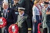 MrChristopherGarrod, AirTransportAuxiliaryAssociation , CaptainDavidJohnstone, MerchantNavy, and GeneralMarkCarletonSmithOBE,ChiefoftheGeneralStaff (?) with their wreaths at the Cenotaph during the Remembrance Sunday Cenotaph Ceremony 2018 at Horse Guards Parade, Westminster, London, 11 November 2018, 10:55.