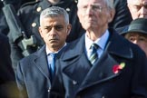 Mr Sadiq Khan (Mayor of London) during the Remembrance Sunday Cenotaph Ceremony 2018 at Horse Guards Parade, Westminster, London, 11 November 2018, 10:57.