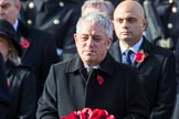 The Rt Hon John Bercow MP, Speaker of the House of Commons (on behalf of Parliament representing members of the House of Commons) with his wreath during the Remembrance Sunday Cenotaph Ceremony 2018 at Horse Guards Parade, Westminster, London, 11 November 2018, 10:57.