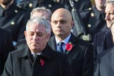 The Rt Hon Sajid Javid MP (Secretary of State for the Home Department) with his wreath during the Remembrance Sunday Cenotaph Ceremony 2018 at Horse Guards Parade, Westminster, London, 11 November 2018, 10:57.