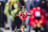 The cross with the poppies, held by the CrossBearer, Michael Clayton Jolly, during Remembrance Sunday Cenotaph Ceremony 2018 at Horse Guards Parade, Westminster, London, 11 November 2018, 10:58.