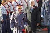 HRH The Prince of Wales (Prince Charles) lays a wreath on behalf of HM The Queen and HE The President of the Federal Republic of Germany, Frank-Walter Steinmeier  leaving the Foreign and Commonwealth Office during the Remembrance Sunday Cenotaph Ceremony 2018 at Horse Guards Parade, Westminster, London, 11 November 2018, 10:58.