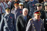 HE The President of the Federal Republic of Germany, Frank-Walter Steinmeier, in focus, between HRH The Prince of Wales (Prince Charles) and HRH Prince Michael of Kent, followed by HRH The Duke of Kent (Prince Edward) and HRH The Princess Royal (Princess Anne) during the during Remembrance Sunday Cenotaph Ceremony 2018 at Horse Guards Parade, Westminster, London, 11 November 2018, 10:58.