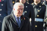 HE The President of the Federal Republic of Germany, Frank-Walter Steinmeier  during the Remembrance Sunday Cenotaph Ceremony 2018 at Horse Guards Parade, Westminster, London, 11 November 2018, 10:58.