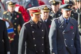 HRH The Duke of Sussex (Prince Harry), HRH The Duke of York (Prince Andrew), and HRH The Duke of Cambridge (Prince William)  during the Remembrance Sunday Cenotaph Ceremony 2018 at Horse Guards Parade, Westminster, London, 11 November 2018, 10:59.