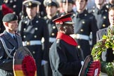 Lieutenant Colonel(German: Oberstleutnant) Christoph Kahnert, Equerry to HE The President of the Federal Republic of Germany, and Major Nana Twumasi-Ankrah, Equerry to HM The Queen,during the Remembrance Sunday Cenotaph Ceremony 2018 at Horse Guards Parade, Westminster, London, 11 November 2018, 10:59.