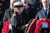 Commander Anne Sullivan, Royal Navy, Equerry to The Princess Royal, during Remembrance Sunday Cenotaph Ceremony 2018 at Horse Guards Parade, Westminster, London, 11 November 2018, 10:59.