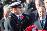 Lieutenant Commander David Brannighan, Royal Navy, Equerry to The Duke of Cambridge, during Remembrance Sunday Cenotaph Ceremony 2018 at Horse Guards Parade, Westminster, London, 11 November 2018, 10:59.