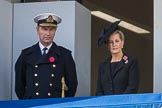Vice Admiral Sir Tim Laurence, husband of HRH The Princess Royal and HRH The Countess of Wessex (Sophie)  on the balcony of the Foreign and Commonwealth Office during the Remembrance Sunday Cenotaph Ceremony 2018 at Horse Guards Parade, Westminster, London, 11 November 2018, 10:59.