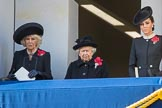 HRH The Duchess of Cornwall (Camilla), Her Majesty The Queen, and HRH The Duchess of Cambridge (Kate) on the balcony of the Foreign and Commonwealth Office during Remembrance Sunday Cenotaph Ceremony 2018 at Horse Guards Parade, Westminster, London, 11 November 2018, 10:59.
