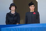 Mrs. Elke Büdenbender, wife of HE The President of the Federal Republic of Germany, Frank-Walter Steinmeier and HRH The Duchess of Sussex (Meghan) on the balcony of the Foreign and Commonwealth Office during the Remembrance Sunday Cenotaph Ceremony 2018 at Horse Guards Parade, Westminster, London, 11 November 2018, 10:59.